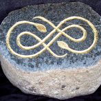 Preseli bluestone with hand carved Celtic design enhanced with gold leaf