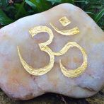 White river washed quartz with hand carved Om symbol finished in gold leaf