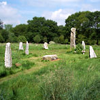 Stone circle of quarried granite with huge central stone, Sussex