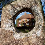 Holed stone framing a view