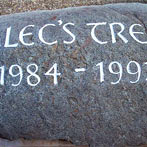 Celtic style carving on Preselli personalised memorial stone