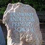 Engraved playground boulder