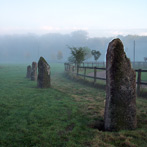 Stone avenue at misty dawn